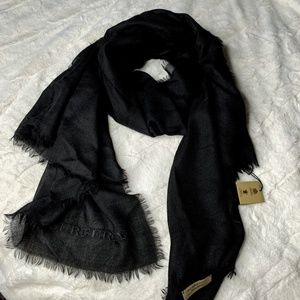 Burberry Lightweight Solid Black Cashmere Scarf
